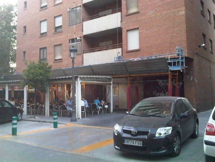 chapa proteccion caida cascotes andamio rehabilitacion fachada